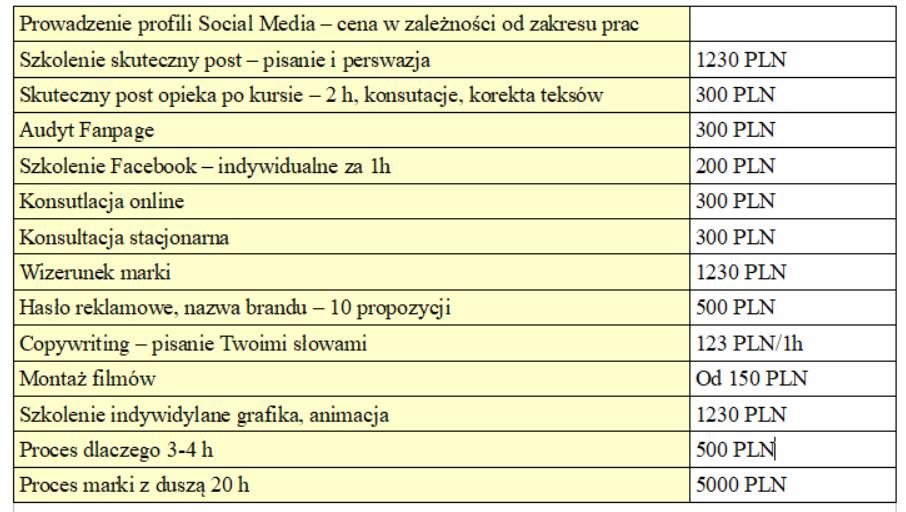 Cennik Social Media